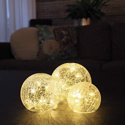 3 Licht Crackle (Gadgy ® Crackle Glaskugeln Lichter   Ø 8, 10, 12 cm Kugellampe   Dekorative Innen Tischbeleuchtung   Warm Weiße LED   Batteriebetrieben Leuchtkugel   Stimmungslicht Nachtlicht Tischlampe)