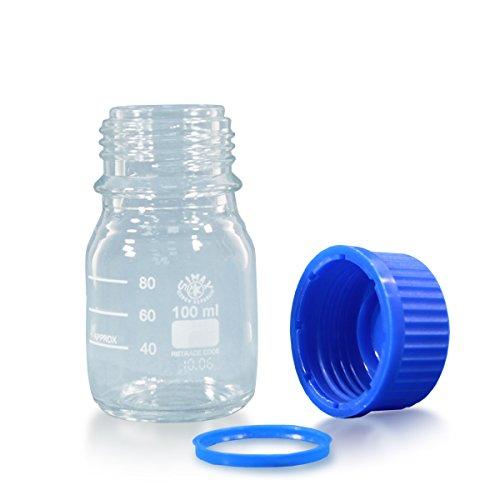 12 x Gewindehalsflasche 100ml aus Borosilikatglas 3.3 inkl. Schraubverschluss und Ausgiessring (blau) - ISO 4796-1 - mit Graduierung *** Gewindeflasche, Laborflasche, Weithalsflaschen, Laborflaschen, Weithalsflasche, Glasflasche, Gewindeflaschen, Laborgewindeflasche, Glasflaschen ***