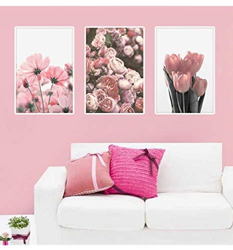 wymhzp 3 Stücke Nordic Blume Leinwand Malerei Wohnzimmer Dekoration Malerei Tulip Rose Floral Bild Druck Auf Leinwand Pflanze Wandkunst Wohnkultur
