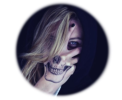 TATTOOCREW® Halloween Tattoo Skull Totenkopf Hand Temporäre Tattoos, 2er Pack Hand-druckmaschine