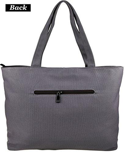 b21f43d5c7339 DCCN Damen Shopper Bag Segeltuchtasche Groß Canvas College Bag für  Studenten 38 31 9cm ...