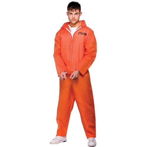 Orange Convict Suit - Adult Costume Men : SMALL