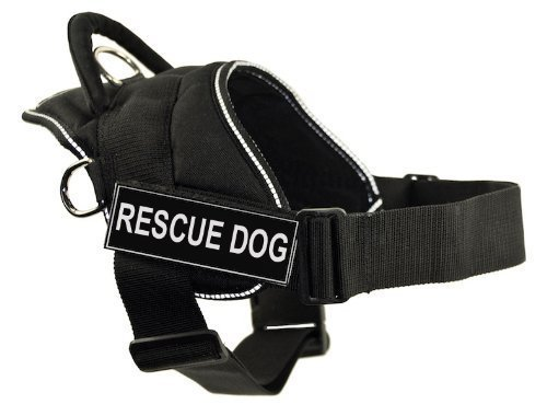Dean & Tyler DT Fun Works Harness, Rescue Dog, Black with Reflective Trim, X-Large - Fits Girth Size: 34-Inch to 47-Inch