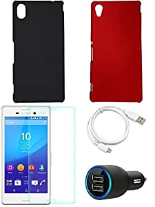 NIROSHA Tempered Glass Screen Guard Cover Case Car Charger USB Cable for Sony Experia M4 - Combo