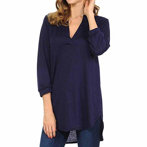OSYARD Damen Mode Sommer V-Ausschnitt Baumwolle Mode Tops Shirt Bluse(EU 42/XL, Marine)