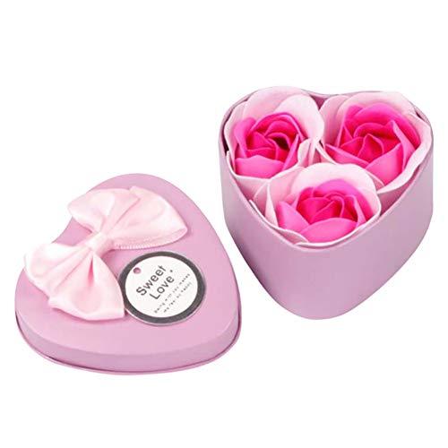 Xiton 1 Paquete De Flora JabóN De BañO Con Aroma Planta De Flor De Rosa JabóN De Aceite Esencial Jabones De Flores Hechos A Mano Caja De Regalo Para Aniversario, Boda, DíA De San ValentíN(Rosado)