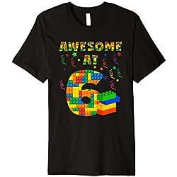 Geburtstag Shirt für Jungen Alter 6Sechs Blöcke Bausteine Thema