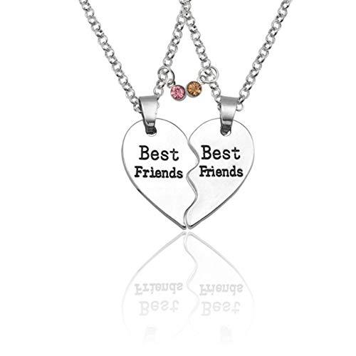 JMZDAW Halskette Anhänger 2 Pcs/Set Best Friends Anhänger Halsketten Silber Pfirsich Borken Heart Necklace Bester Freund Für Immer BFF Ketten Charms Schmuck