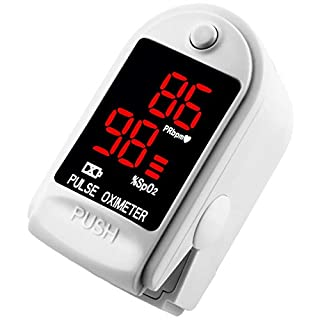 AVAX AV-50DL - Fingerpulsoximeter (Finger Pulse Oximeter) -%SpO2 (Sauerstoffsättigung des Blutes) & Herzfrequenzmesser mit LED-Anzeige und Zubehör - WEISS