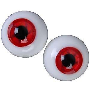 1 paire 16mm Yeux de Poupée BJD en Verre - Rouge