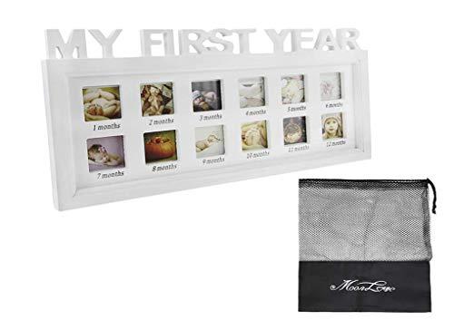 Portafoto Da Parete Multiplo.Portafoto Per Neonato Modello My First Year Cornice Portafoto In Legno Portafoto Multiplo Per Collage Di Foto Cornice Con 12 Riquadri Portafoto