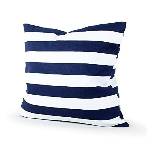 Lavievert Decorative Canvas Square Toss Pillowcase Cushion Cover Navy Blue Stripe Throw Pillow Case with Hidden Zipper Closure 18 X 18