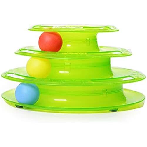 regalos tus mascotas mas kawaii OULII Juguete gato tres capas para mascotas juguetes inteligencia juego Crazy Ball bandeja gato regalos de juguetes (verde)