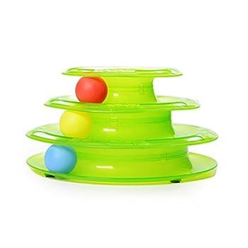 OULII Trois couches de chat jouet pour animaux de compagnie jouets Intelligence jeu Crazy Ball plateau chat jouet cadeau (vert)