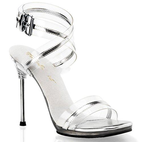 Fabulicious Chic-05 - sexy High Heels Sandaletten mit Metall-Absatz 35-42, Größe:EU-38 / US-8 / UK-5
