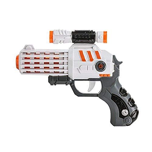 Kamiustore Pistola Giocattolo per Bambini con luci e Suoni Space Warriors - Pistola Spaziale Laser (Bianco)