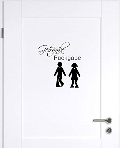 Getränke Rückgabe WC Badezimmer Toilette Wandtattoo Tattoo Wandaufkleber B420 (schwarz)