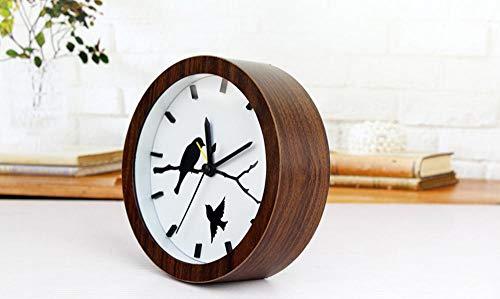 CWLLWC tischuhr standuhr,Kaminuhr Kreative Holz Uhr Retro-alte Holz Mute Dekorative Uhr 12 * 12cm - Alte Holz Uhr