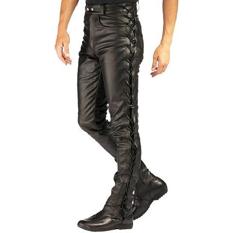 Roleff Pantalón de Cuero con Cordones Laterales Racewear, Negro, 44