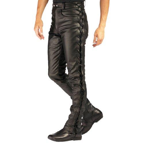 Roleff Pantalón de Cuero con Cordones Laterales Racewear, Negro, 48