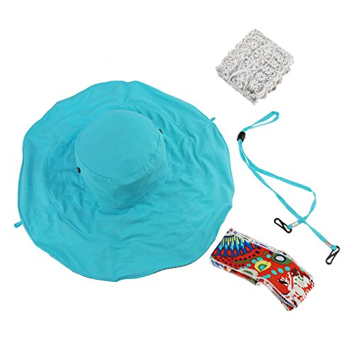 MUJERES LADY NIñAS FASHION PRETTY GRANDE ALA FLOPPY ANTI-UV PROTECCION SOLAR PLEGABLE VERANO SUN HAT LIGHTWEIGHT OUTDOOR EN LA PLAYA TRAVELER UPF 50 + GORRA AZUL AZUL TALLA:TALLA UNICA