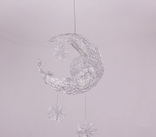 Lonfenner lampada a sospensione/plafoniera con luna e stelle, per la cameretta dei bambini/soggiorno - 4