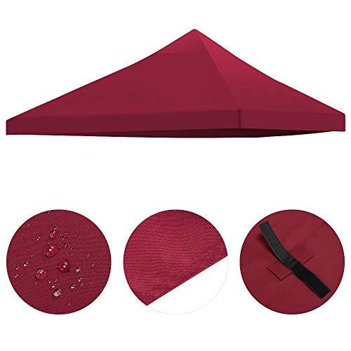 Yaheetech 3x3m Ersatzdach Pavillondach Dach für Pavillon Partyzelt Gartenzelt Festzelt, aus PVC und Polyester wasserdicht robust weinrot