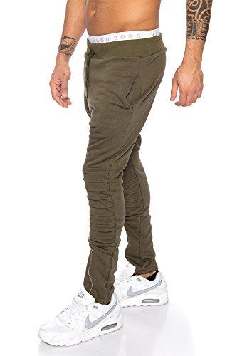 Joggingshose Sporthose von Raff & Taff Bikerstyle Zipper 1001 Oliv