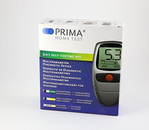 PRIMA 3in1 misuratore Glucosio Colesterolo Trigliceridi con strisce incluse + ricarica di 25 strisce Colesterolo+ 25 strisce Trigiceridi + 10 strisce glucosio