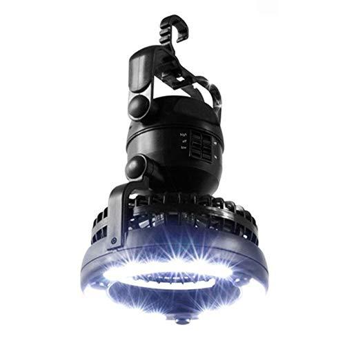 fghfhfgjdfj Multifuncional Casual Camping Exterior Senderismo Luz Linterna Tamaño portátil LED Carpa Light Fan Accesorio Negro