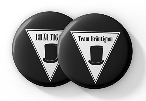 JGA Button Set für Männer mit Zylinder – 12 Stylische Anstecker für den Bräutigam und seine Crew zur Bachelor Party - Buttons Junggesellenabschied