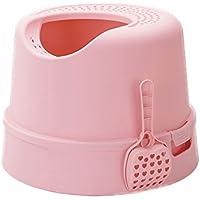 Cat harem- Cat WC Top en el cerrado Anti-outside Splash Desodorante Cat Litter Cat Supplies 3 Color Opcional (Regalo Sound Fish Toy) (Color : Pink)