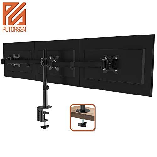 """PUTORSEN® Monitor Tischhalterung für 3 Monitore 13\""""-27\""""(33-68cm) LCD LED TV Bildschirme Flachbildschirm, Belastbarkeit: 7 kg/pro Monitor, neigbar 180°, schwenkbar 360°, höhenverstellbar"""