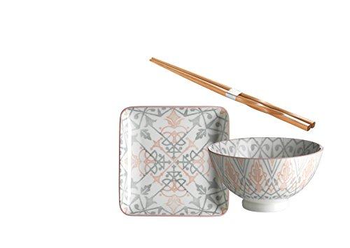 Domestic by Mäser 931039Serie Nantes, Sushi–Vajilla de 18Piezas, Cuadrado, para 6Personas, Decorado en el Color Porcelana, Gris, 58x 30x 20cm, 18Unidades
