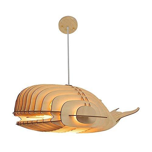 HZC Pendelleuchte Einzigartiges Design Holz Hängelampe Deckenleuchte mit Schnur DIY Dekorative Whale Large Suspended Chandelier Lampenschirm for Bar Küche Esszimmer Suspended Ceiling Kit