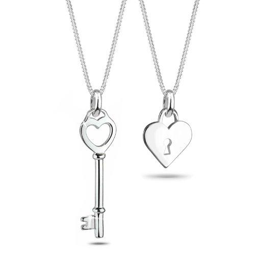 Elli Damen-Kette mit Anhänger Schlüssel, Herz, Partnerkette 925 Sterling Silber 0110462011_45 - 45cm Länge