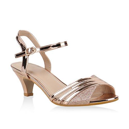 Damen Schuhe Riemchensandaletten Lack Glitzer Sandaletten Party 155142 Rose Gold 40 Flandell