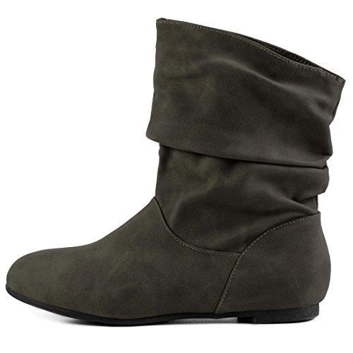Óptica Óptica Curtas Eixo Couro Couro Alta Trabalhadores Básicos Verde Botas Dos Qualidade De Em Deslizar Botas Ankle De Suave Boots txw7nT1Xq