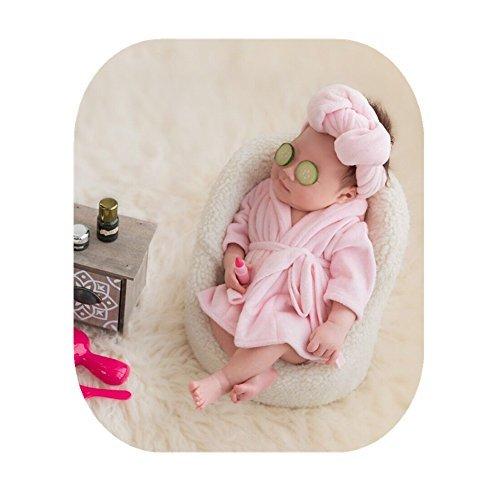 Neugeborenen Babyfotografie Props Kostüm Jungen Mädchen Baby Fotografieren Fotoshooting Set Requisiten Accessoire Bademäntel mit Handtuch (Rosa)