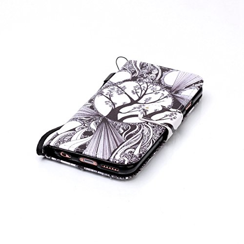 iPhone 6 Plus Hülle,iPhone 6S Plus Hülle,SainCat PU Leder Hülle Brieftasche im BookStyle Wallet Case Lederhülle Folio Schutzhülle Karikatur Muster Ledertasche Hülle Bumper Handytasche Skin Schale Soft Fantasie-Baum