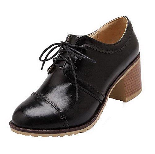 AllhqFashion Femme à Talon Correct Couleur Unie Lacet Rond Chaussures Légeres Noir