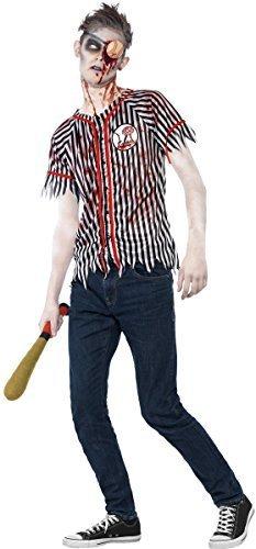 Fancy Me Teen Ältere Jungen Zombie Baseball Spieler Halloween Kostüm mit Öse Patch & Baseballschläger 12-14 Jahre