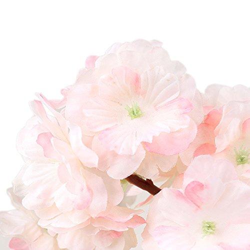 (opuss–künstliche Sakura Blumen–Traubenblätter Fake Seide Kirsche Pfirsich Blüten Simulation Hochzeit Home Party Ornament Dekoration, plastik, hellrosa, as picture shown)