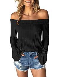 YMYY-Kleider Verano Mujeres Top Ocasional Suelto Colores Lisos Tejer T Shirt Blusa Manera Cuello
