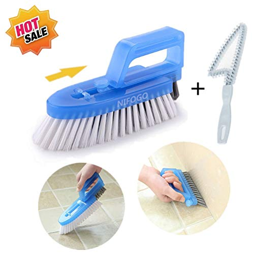 Nifogo Fugenbürste für Bad Küche und Haushalt - Reinigt Effektiv Fugenfliesen und entfernt Schimmel Oberflächlich, 3 Brush Included (Blau)