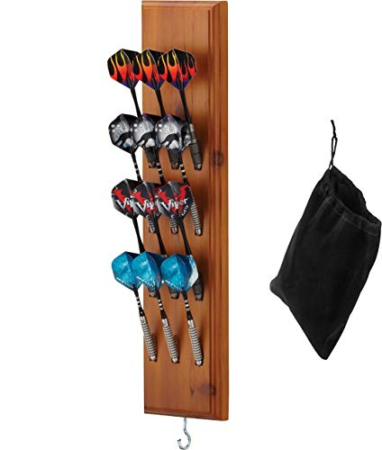 Viper Dart Caddy Solid Wood Wall Mounted Dart Holder/Stand, Displays 4 Sets of Steel or Soft Tip Darts, for All Sisal & Electronic Dartboards, Surrounds & Cabinets, Cinnamon Finish