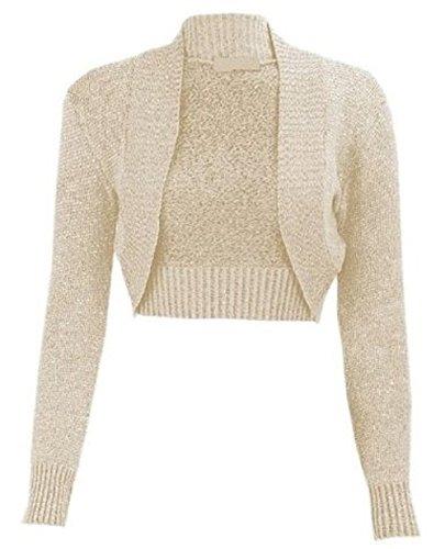 Frauen Lurex Bolero Lange Ärmel Bauchfrei mit Crochet Strick Top Strickjacke UK Größe 8-14 Gr. 42, Stone -