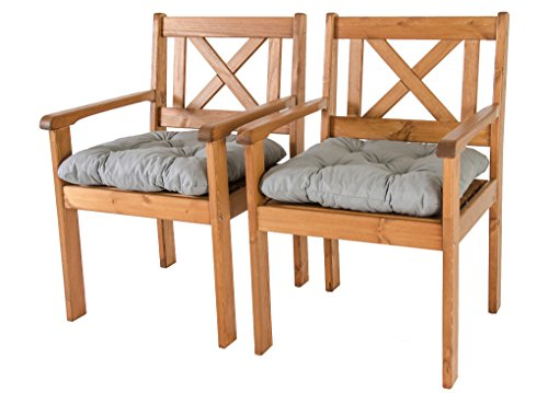 Ambientehome Lot de 2 chaises de Jardin ou terrasse EVJE en Bois Massif, Ton Marron avec Coussins Confortables en Coton, 59x64x90 cm