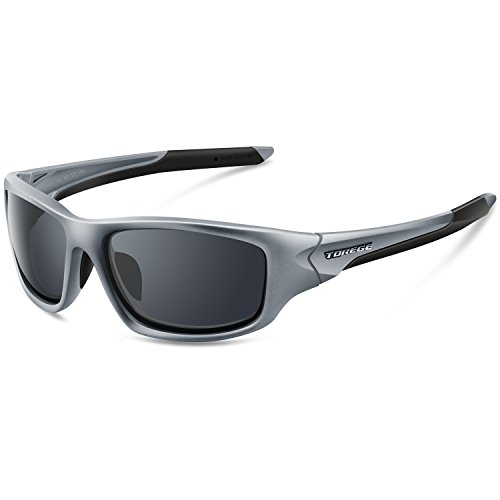 Torege Polarized Sportsonnenbrille für Damen und Herren Radfahren Laufen Angeln TR90 TR011 unzerbrechlicher Sattel, grau