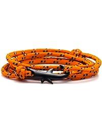 Wonlines Fashion Plated Black Alloy Shark Tail Hook Colorful Rope Bracelet Bangle